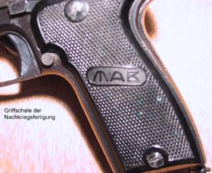 Beschriftung und bestempelung der pistole mab Markisenstoff auf mab